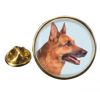 German Shepherd Round Pin Badge