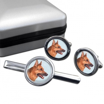 German Shepherd  Cufflink and Tie Clip Set