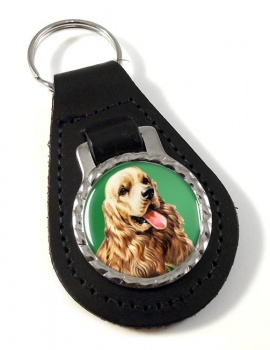 American Cocker Spaniel Leather Key Fob