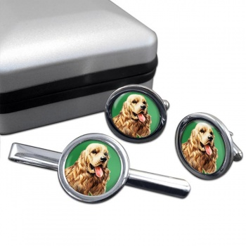 American Cocker Spaniel  Cufflink and Tie Clip Set