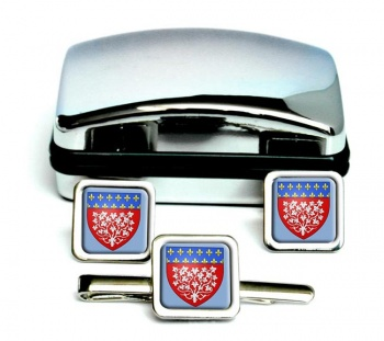 Amiens (France) Square Cufflink and Tie Clip Set