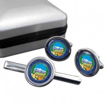 Anaheim CA  Round Cufflink and Tie Clip Set