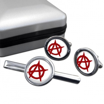 Anarchy Round Cufflink and Tie Clip Set