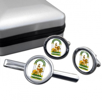 Andalusia Andalucia (Spain) Round Cufflink and Tie Clip Set