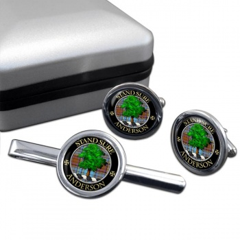 Anderson Scottish Clan Round Cufflink and Tie Clip Set