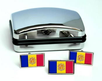 Andorra Flag Cufflink and Tie Pin Set
