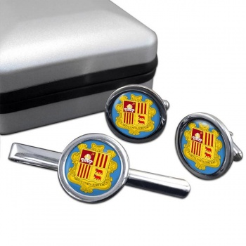 Andorra Round Cufflink and Tie Clip Set