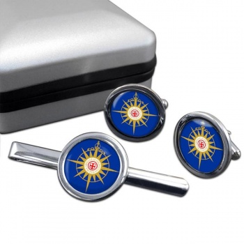 Anglican Communion Round Cufflink and Tie Bar Set