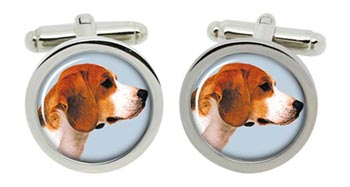 Beagle Cufflinks in Chrome Box