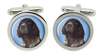 German Longhaired Pointer Cufflinks in Chrome Box