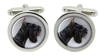Giant Schnauzer Cufflinks in Chrome Box
