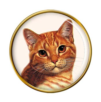 Ginger Shorthair Cat Pin Badge