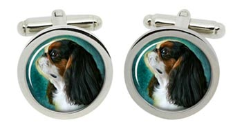 King Charles Toy Spaniel Cufflinks in Chrome Box