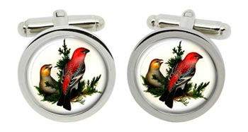 Pine Grosbeak Cufflinks in Chrome Box