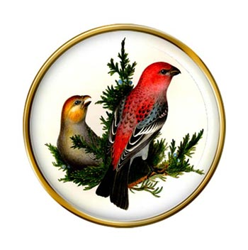 Pine Grosbeak Pin Badge