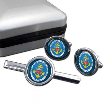 Antofagasta (Chile) Round Cufflink and Tie Clip Set