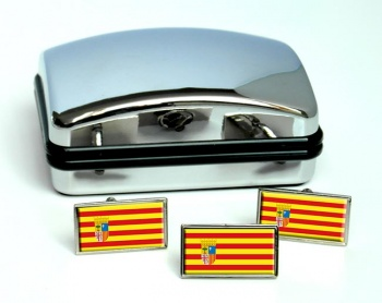 Aragon (Spain) Flag Cufflink and Tie Pin Set