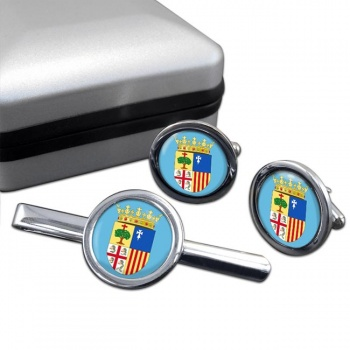 Aragon (Spain) Round Cufflink and Tie Clip Set