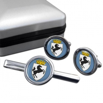 Arezzo (Italy) Round Cufflink and Tie Clip Set