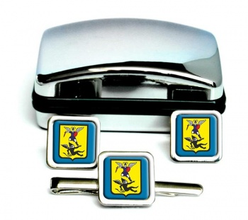 Arkhangelsk Square Cufflink and Tie Clip Set