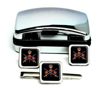 Canadian Army Square Cufflink and Tie Clip Set