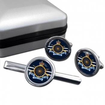 Army Cyclist Corps Round Cufflink and Tie Clip Set