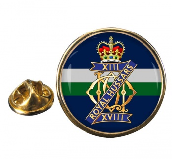 13th-18th Royal Hussars (Queen Mary's Own) British Army Round Pin Badge