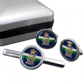 13th-18th Royal Hussars (Queen Mary's Own) British Army Round Cufflink and Tie Clip Set
