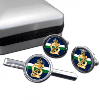 13th Hussars (British Army) Round Cufflink and Tie Clip Set
