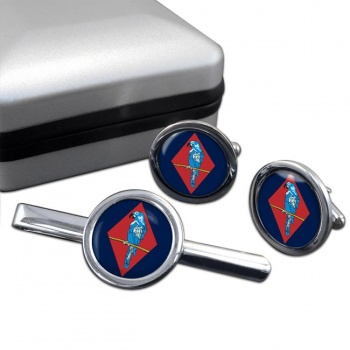 143 (West Midlands) Brigade Round Cufflink and Tie Clip Set