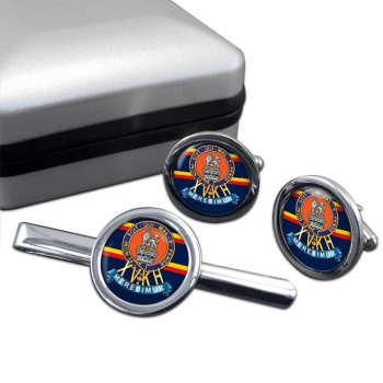 15th The King's Hussars Round Cufflink and Tie Clip Set