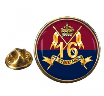 16th The Queen's Lancers Round Pin Badge
