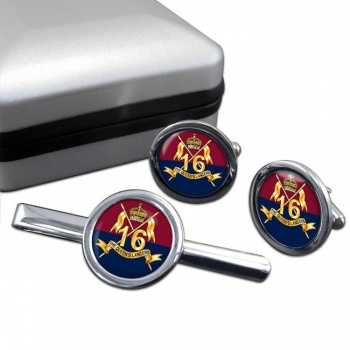 16th The Queen's Lancers Round Cufflink and Tie Clip Set