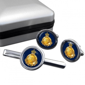 18th Royal Hussars (Queen Mary's Own) Round Cufflink and Tie Clip Set
