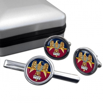 1st The Royal Dragoons (British Army)  Round Cufflink and Tie Clip Set