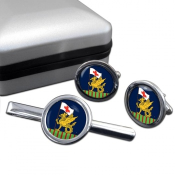 243 Field Hospital Round Cufflink and Tie Clip Set