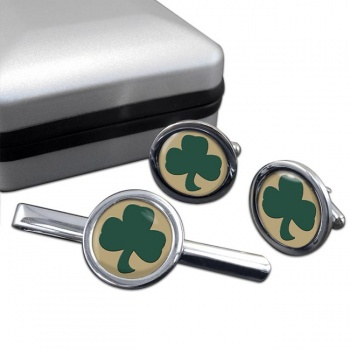 38 (Irish) Brigade (British Army) Round Cufflink and Tie Clip Set