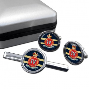 4th Queen's Own Hussars (British Army) Round Cufflink and Tie Clip Set