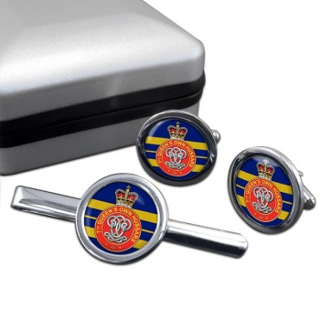 7th Queen's Own Hussars Round Cufflink and Tie Clip Set