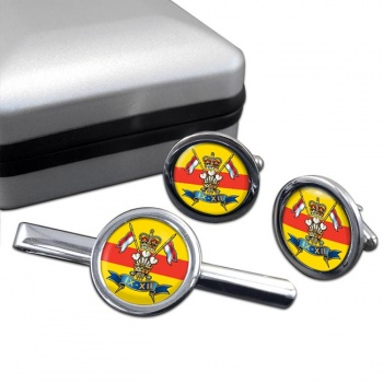 9th-12th Royal Lancers (British Army) Round Cufflink and Tie Clip Set