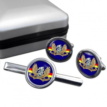 Ayrshire (Earl of Carricks Own) Yeomanry (British Army) Round Cufflink and Tie Clip Set