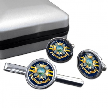 Bedfordshire and Hertfordshire Regiment Round Cufflink and Tie Clip Set