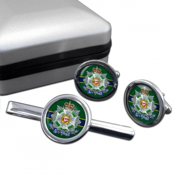 Border Regiment Round Cufflink and Tie Clip Set