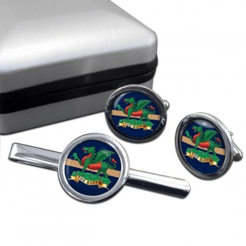 The Buffs (Royal East Kent Regiment) British Army Round Cufflink and Tie Clip Set