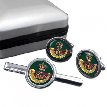 Durham Light Infantry (British Army) Round Cufflink and Tie Clip Set