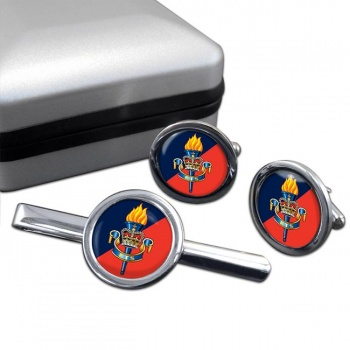Education and Training Services (British Army) Round Cufflink and Tie Clip Set