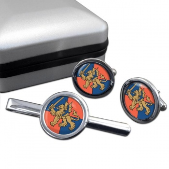Force Troops Command (British Army) Round Cufflink and Tie Clip Set