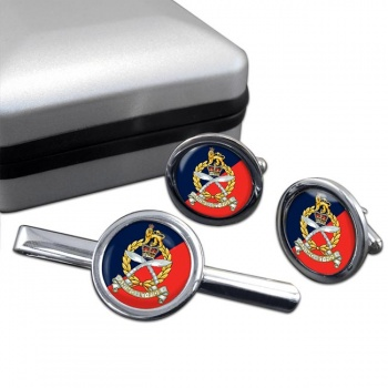Gurkha Staff and Personnel Support Branch Round Cufflink and Tie Clip Set