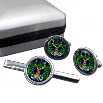 Gordon Highlanders (British Army) Round Cufflink and Tie Clip Set