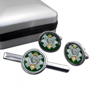 Highland Light Infantry (British Army) Round Cufflink and Tie Clip Set